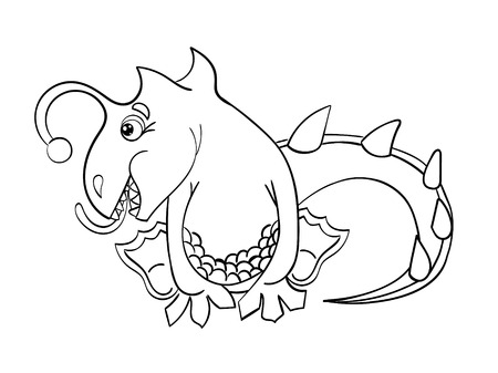 wyvern: Coloring Book without color dragon isolated on white background