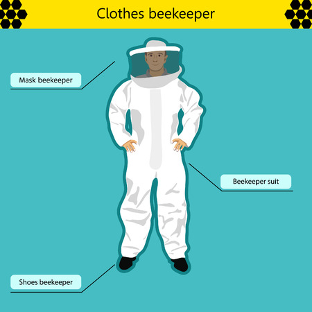 beekeeper: beekeeper. Standing in the beekeeping suit and the grid on the face on a blue background