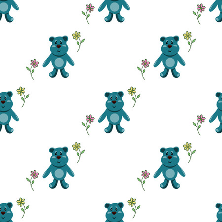 seamless pattern with childrens teddy bears, illustration for children Vector