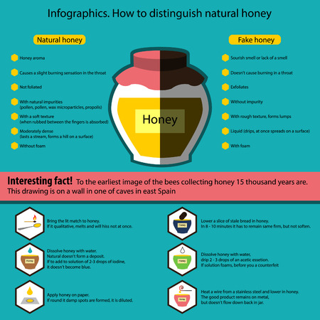 distinguish: Infographics with the poster containing information on that as it is possible to distinguish qualitative honey from a fake. Contains graphic icons with instructions. Illustration