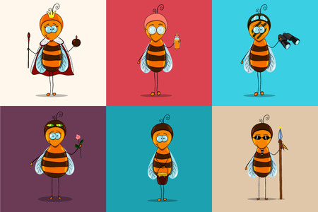 bee: Vector set of bees. Bees of the guard, the intelligence agent, working bees, bees of the nurse, a bee males, a queen bee are drawn. Are executed in style of icons. Illustration