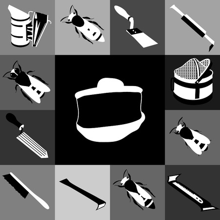Vector tool kit of the beekeeper in black-and-white tones. Flat infographics Vector