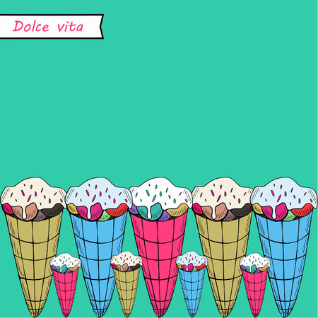 Greeting card. A vector illustration with sweets and the text