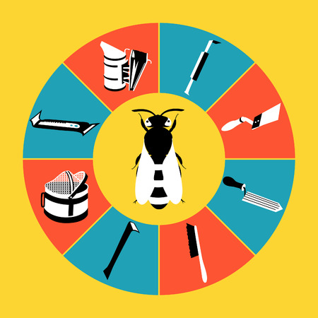 Vector tool kit of the beekeeper. Flat infographics