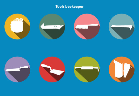 family gardening: Vector tool kit of the beekeeper. Flat infographics