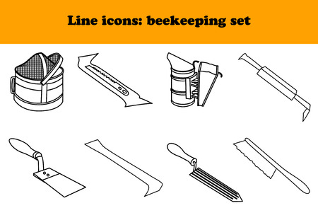 tool kit: Vector tool kit of the beekeeper. Flat infographics