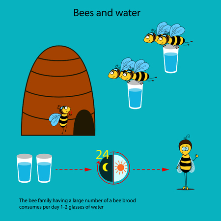 flight helmet: Bees need to use the information poster containing information on that how many water per day. It is drawn in style of flat infographics. Illustration