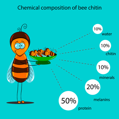 The information poster containing information on a chemical composition of bee chitin. Alternative medicine.