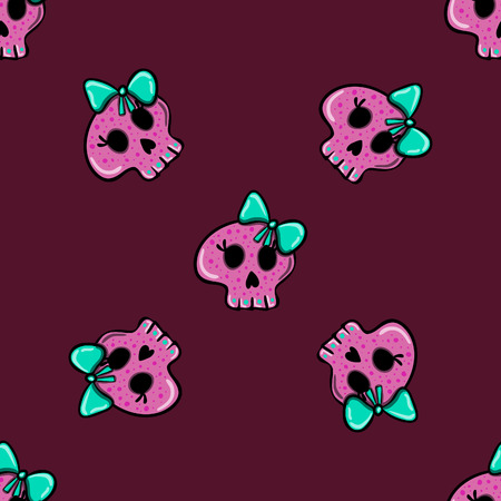 emo: seamless pattern in the style of emo skull. Drawn by hand, cute doodle drawing