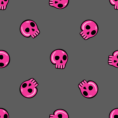 seamless pattern in the style of emo skull. Drawn by hand, cute doodle drawing