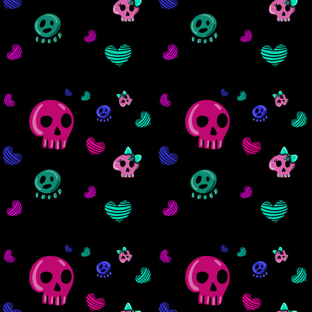 seamless pattern in the style of emo skull. Drawn by hand, cute doodle drawing Vector