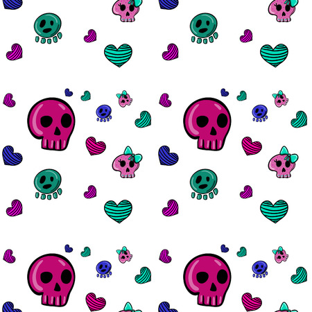 emo: seamless pattern in Emo style with skulls and hearts