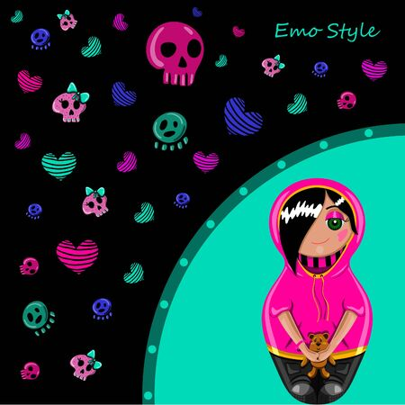 emo: Card in emo style. Painted hands with a cute girl emo and colorful skulls and hearts. Illustration