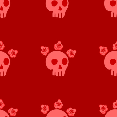 seamless pattern with skulls and roses. Mexican Day of the Dead. Cute doodle drawing Vector
