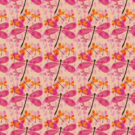 dragonfly wings: seamless pattern with dragonflies and rain drops Illustration