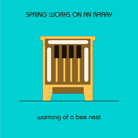 The information poster spring work on an apiary. Warming of a bee nest.