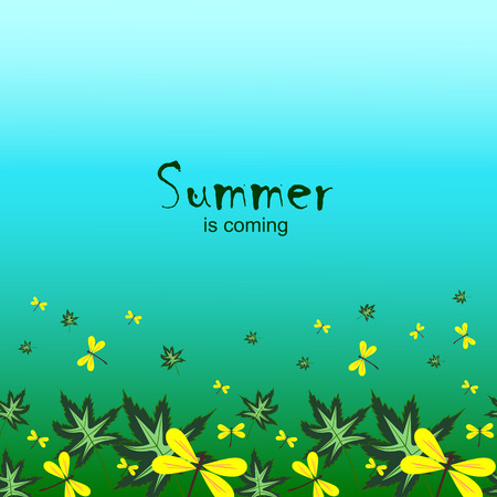 pictorial art: The background with leaves and dragonflies. Invitation card with the text Summer is coming.