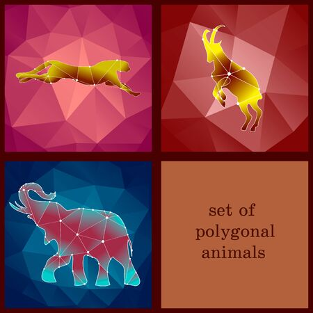 wild living: set with polygonal animals living in the wild