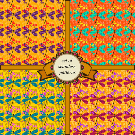 set of seamless patterns with dragonfly in yellow colors Vector