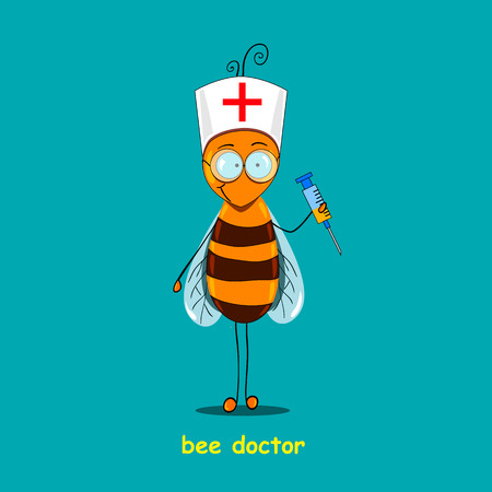 Bee - the doctor executed in animation style. Apiotherapy, bee drugstore. Vectores