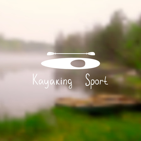 kayak: Silhouette of a kayak with a paddle on a postcard with a photo blurred. Text kayaking sport.