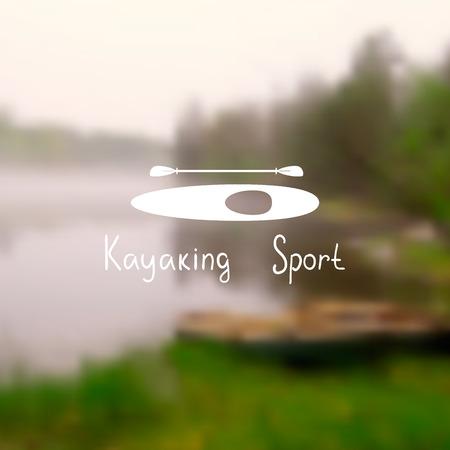 ocean kayak: Silueta de un kayak con una paleta en una postal con una foto borrosa. Deporte kayak texto.