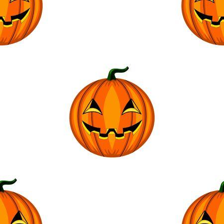 halloween pattern: Seamless Halloween pattern with scary head  pumpkins. Vector illustration. Illustration