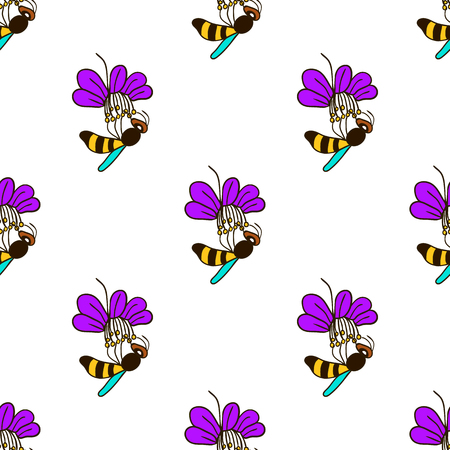 simple purity flowers: Doodle seamless pattern with bee on a flower