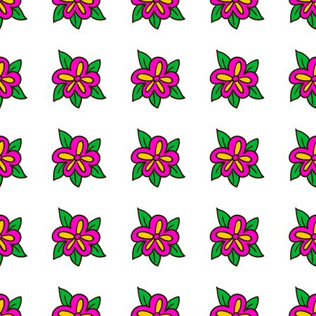 pink flower: Doodle seamless pattern with pink flower