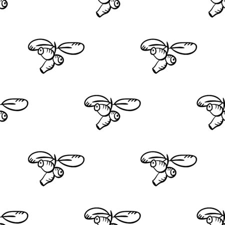 honeysuckle: Seamless pattern with monochrome doodle honeysuckle on white background. Cute vector illustration