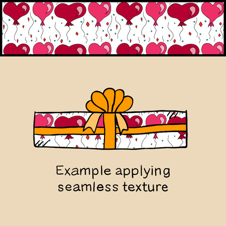 applying: Applying seamless texture with heart on gift box