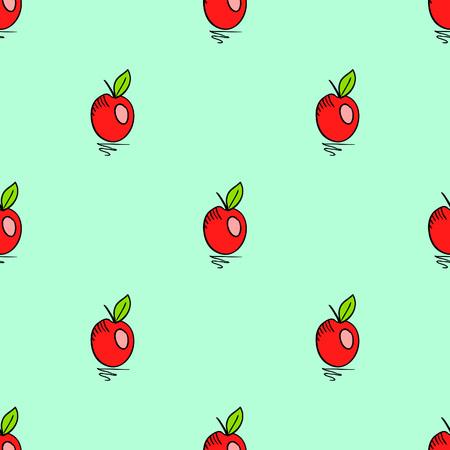 autumn harvest: seamless pattern with doodle apple. Cute vector illustration autumn harvest Illustration