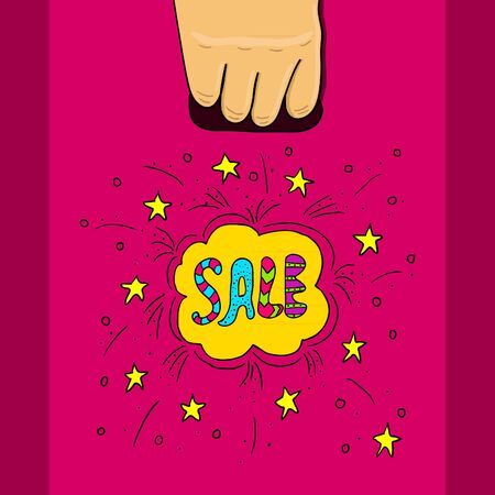doodle text: Hand holds a plastic bag with doodle text sale.