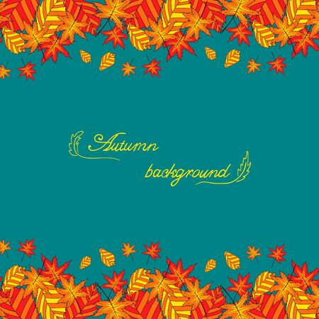 a place for the text: Background with autumn leaves in orange color on blue background with a place for text. Cute autumn illustration.