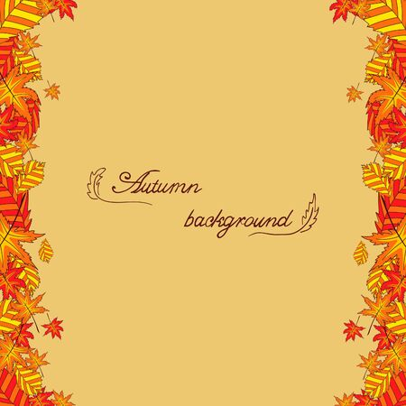 a place for the text: Background with autumn leaves in orange color on light background with a place for text. Cute autumn illustration.