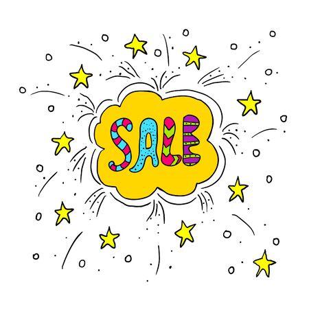 doodle text: Doodle Sale background. Cute illustration with doodle text sale