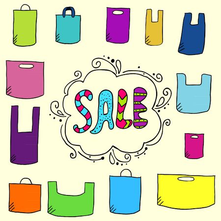 paper bags: Sale background with doodle paper bags. Cute illustration with text sale and doodle plastic bag