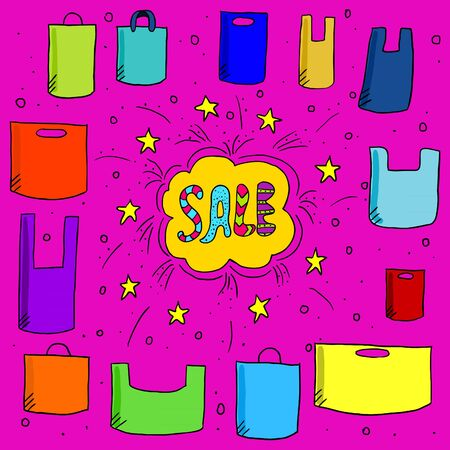 plastic bag: Sale background with doodle paper bags. Cute illustration with text sale and doodle plastic bag