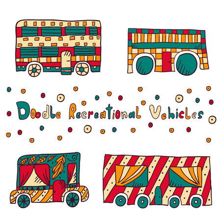 family picnic: Home on wheels in Dudley style. Cute trailers for summer travel, outdoor recreation and tourism. Can be used for postcards, web design, travel magazines. Vector illustration.