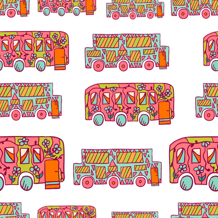 recreational: Seamless pattern with doodle recreational vechicles. Cute travel illustration Illustration