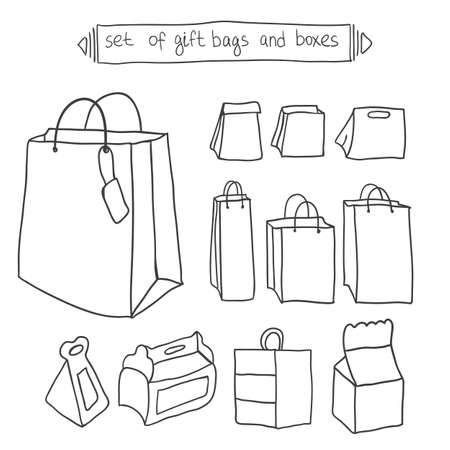 gift bags: Doodle Set of gift bags and boxes Illustration