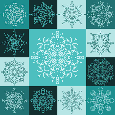 gift bags: Set round symmetric snowflakes. 13 Vector Christmas icons. It can be used for the design of winter holidays (Christmas). It can also be used in web design, to packaging, gift bags, etc. Illustration