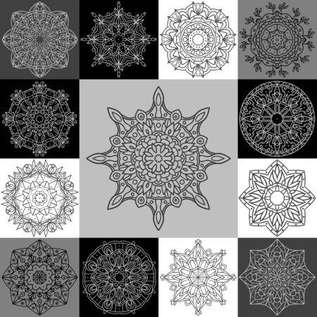 lace: Establecer mandala �tnica. 13 vector patrones circulares. Se puede utilizar en el dise�o web, en postales, en el embalaje, en la ropa.