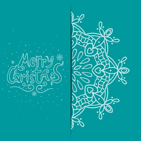 christmas postcard: Greeting card with snowflake and text Merry Christmas. New Year illustration
