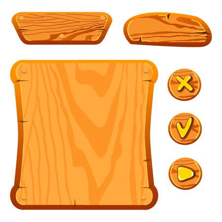 info board: Wooden assets for game. Interface game illustration. Illustration