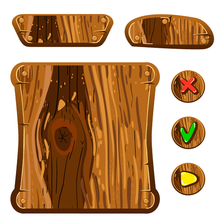 assets: Wooden assets for game. Interface game illustration. Illustration