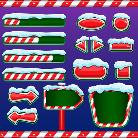 interface design: Christmas user interface for mobile or computer game design. Buttons, boards, signs, bar download Illustration