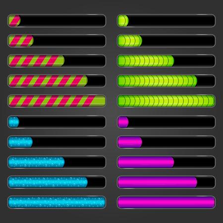 darck: Set of progress bars on darck background. Vector bar downloader. Illustration