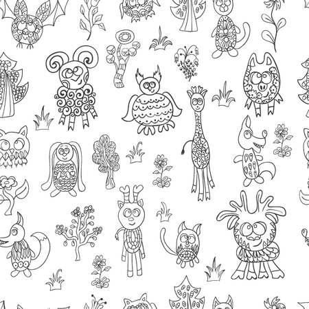 pig with wings: Seamless pattern doodle fantastic zoo. Childrens fairy illustration.
