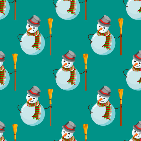 embers: Seamless pattern with snowman. Christmas illustration.